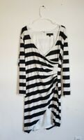 Eloquii Womens Black White Wrap Ruched Dress Plus Size 18
