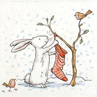 4x Paper Napkins for Decoupage Craft and Party - Charming Snow Rabbit