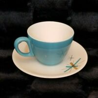 VTG Mid Century Modern Atomic Star Burst Salem North Star Blue Cup & Saucer