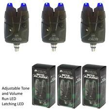 3 x Bite Alarms JHA for Carp Coarse Fishing Blue LED Waterproof Black Alarms