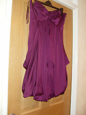 "COAST SZ 14 STRAPLESS DAMSON LINED DRAPE BOUCLE HEM DRESS BUST 34/35"" L31 PRETTY"