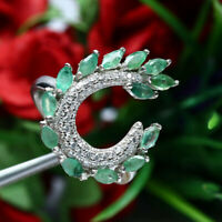 NATURAL GREEN EMERALD & WHITE CZ RING 925 STERLING SILVER SZ 7