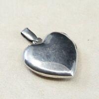 Vintage Sterling Silver Handmade Pendant, Oxidized 925 Silver Heart Locket