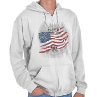 American Flag USA Patriotic United States Zipper Sweat Shirt Zip Sweatshirt