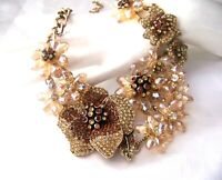 Stunning Retro Vintage Style Bronze Champaign Rhinestone Glass Acrylic Necklace
