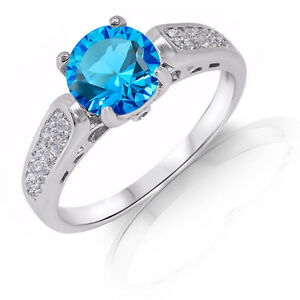 Brilliant Blue Topaz Micro Pave Engagement Genuine Sterling Silver Ring
