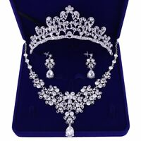 Crystal Prom Wedding Party Bridal Jewelry Diamante Necklace Earrings Crown Set