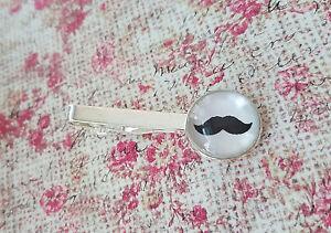 18 mm Mustache Black and white tie clip ,Mens Accessories