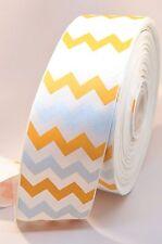 "3"" Yellow and White Glitter Chevron Stripe Grosgrain Cheer Bow Ribbon"