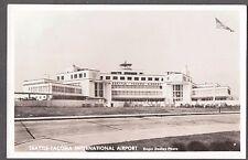 VINTAGE RPPC 1950'S SEATTLE TACOMA INTERNATIONAL AIRPORT CAR BUS PHOTO POSTCARD