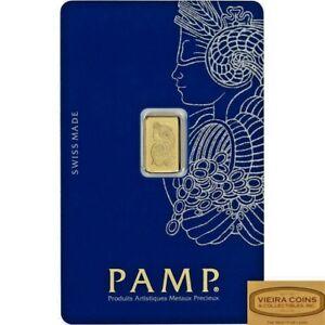 1 gram Gold Bar PAMP Suisse Lady Fortuna Veriscan .9999 Fine in Assay Card #B999