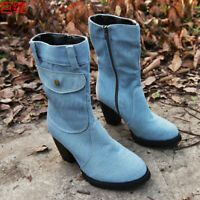 Women's Denim Mid Calf Boots Ladies Block Heel Zipper Round Toe Casual Shoes *