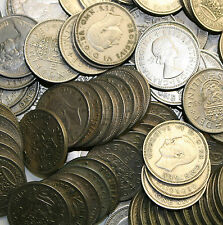 100 X SHILLINGS COINS GOOD MIXTURE FROM 1947 TO 1966