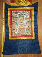 ORIGINAL TIBETAN VINTAGE BUDDHIST MONASTERY USED MEDITATION  PAINTED THANGKA