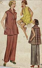 1950s Mccall 9344 Vintage Sewing Pattern Maternity Slacks Shorts Overblouse B32