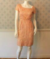 Vintage 1950s / 1960s Jefri Peachy Pink Floral Overlay Short Sleeve Wiggle Dress