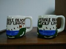 New listing Pebble Beach Golf Links His & Hers Hand Painted Mugs Artist Signed Bl Usa Vtg