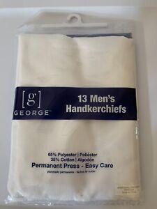 "New 13 Fine Dress HANDKERCHIEFS White 65% poly 35% cotton 15"" x 15"" Mens GEORGE"