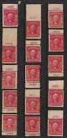 1903 Sc 319 MLH plate number singles, Hebert CV $22.50 each