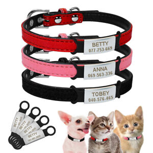 Personalised Soft Leather Dog Collar Slide On Engraved ID Tag Pet Puppy Kitten