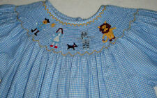 Light Blue Smocked Dress w/Embroidered Wizard of Oz Characters Size 6 Adorable!
