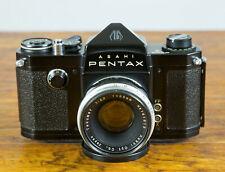Rare Asahi Pentax S BLACK BODY!  w/Takumar 55mm F2.2 Lens & Case - Collectors!