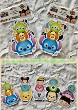 "DISNEY Characters 5 Jumbo TSUM TSUM Scratch & Sniff Stickers 6"" (2 pack lot) See"