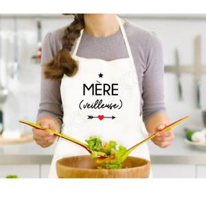 Tablier de cuisine Mère (veilleuse), personnalisé blanc, Idée cadeau idéal maman