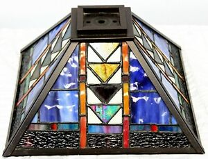 """Stained Glass Lampshade Pyramid 12"""" Square Geometric Southwest Multi Colored"""