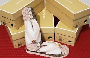 MICHAEL KORS Thong Flip Flops  Pink/White/Brown Size 8(M)