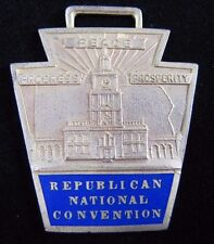 Old Republican National Convention Medallion Fob ornate EBY Co Phila enamel gp