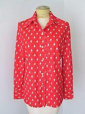 Vgc Vtg 70s Mod Red White Geometric Poly Knit Disco Blouse Top Bullseye Button L