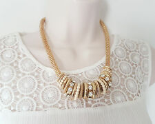 """Gorgeous 18"""" long Gold tone & crystal multi ring design mesh chain necklace"""