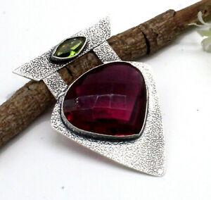 """925 Sterling Silver Pink Tourmaline & Peridot Gemstone Jewelry Pendant Size-2"""""""