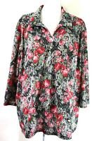 HABAND womens blouse SIZE 3X pink black green floral v-neck 3/4 sleeves (I173)