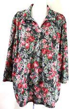 1e62ebb96af HABAND womens blouse SIZE 3X pink black green floral v-neck 3 4 sleeves