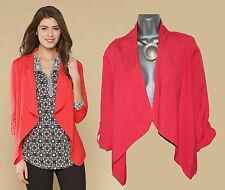 MONSOON Coral Melissa Linen Drape Front Adjustable Tab Sleeve Jacket UK M £49