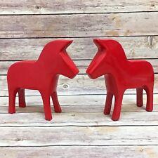 "Figurines - A Pair of 8"" Red Ceramic Animals Figurines 2 pieces set Decoration"