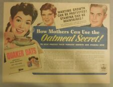 "Quaker Cereal Ad: ""Mothers Oatmeal Secret!"" from 1930's Size: 11 x 15 inches"