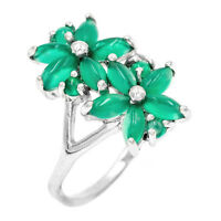 EARTH MINED 4X3MM GREEN AVENTURINE NATURAL RARE GEMSTONE SILVER 925 RING SIZE 8