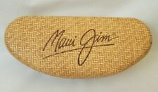 LARGE MAUI Jim Hard Eyeglass Sunglass Case Tan Weave Rattan Look Glasses