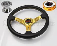 Gold Quick Release Steering Wheel Combo Kit w/Hub For Honda Civic 1996-2000 EK