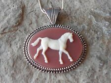 HORSE CAMEO NECKLACE - HORSE LOVERS  - CARNELIAN BROWN - HORSE COLLECTOR