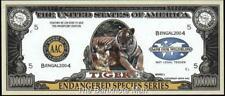 Million Note - Fantasy Money - Beautiful -Endangered Species Series - TIGER