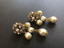 Sign Miriam Haskell Huge Hanging Baroque Pearls Rhinestone Earrings Jewelry