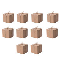 10/50PCS Kraft Paper Square Chocolate Candy Gift Boxes Wedding Party Favor Box