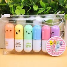 Cute 6pc/set Mini Pill Shaped Highlighter Pens Smile Face Graffiti Marker Pen