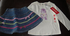 Gymboree Dots of Fun kitty top & denim skirt skort diaper cover NWT 18 24 mo