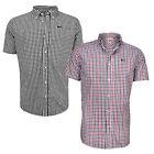 Lonsdale Richy Short Sleeve Shirt Button Down Collar Cotton Check Chemise XS-XXL
