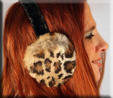 New Leopard Print Rabbit Fur Ear Muffs Velvet Band - Efurs4less